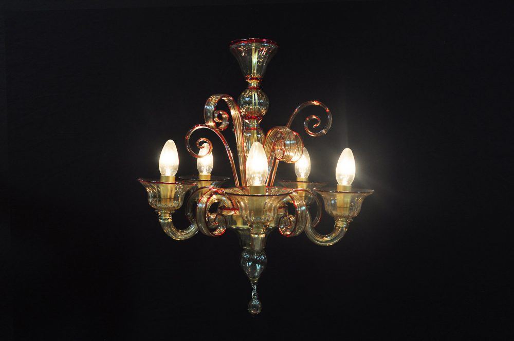 Pastorale 5 luci baby in vetro di Murano