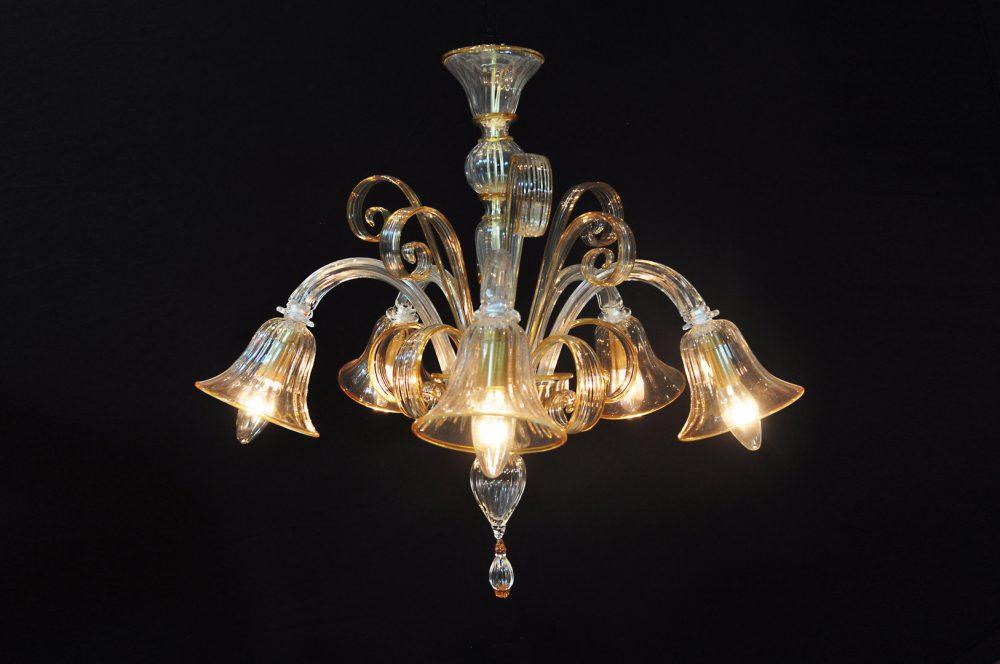 Pastorale 5 luci in giù in vetro di Murano