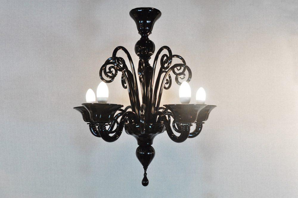 Pastorale tondo 5 luci in vetro di Murano