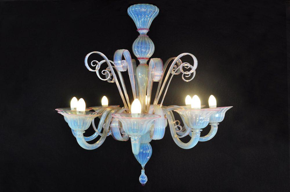 Pastorale 8 luci in vetro di Murano